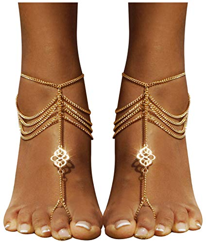 Bienvenu 2 PCS Multi Chain Beach Tassels Anklet Chain Bracelet Barefoot Sandals Foot Jewelry