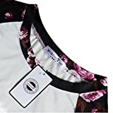 Women Floral Splice Shirt, Misaky Long Sleeve Round Neck Pullover Blouse (S, White)