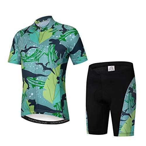 Kids Cycling Jersey Set Cartoon Short Sleeve Bike Shirt Top for Boy Girl Padded Shorts Dinasour and Bat Size S
