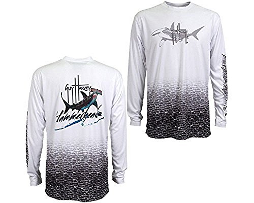 Guy Harvey Men's Hammerhead Pro UVX Performance Long Sleeve T-shirt - White - X-Large (Best Shirts For Guys)
