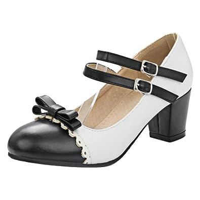 COOLCEPT Damen Mary Jane Blockabsatzs Pumps Schuhe Black Size 31 Asian kndUHN