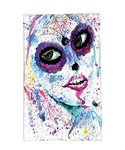 Interestlee Fleece Throw Blanket Girly Decor Grunge Halloween Lady with Sugar Skull Make Up Creepy Dead Face Gothic Woman Artsy Print Blue Purple