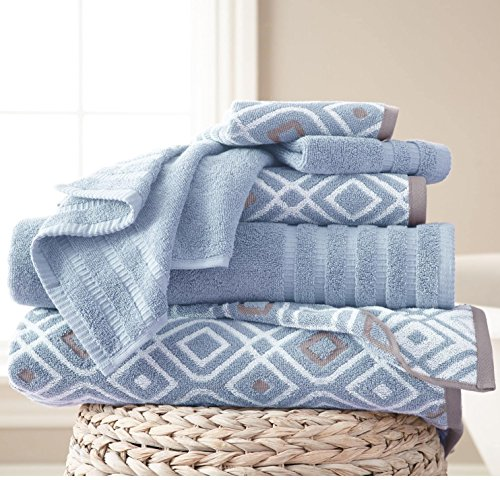 - 6 Piece Light Blue Geometric Solid Color Yarn Dyed Oxford Towel Set With 54 X 27 Inches Bath Towels, Grey White Diamond Graphic Extra Soft Cozy Durable Absorbent Modern Stylish, Combed Cotton Design