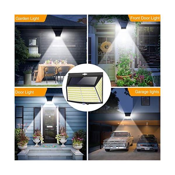 Luce Solare LED Esterno, [ 4 Pezzi 228 LED] Faretti Solari a Led da Esterno Lampada da Esterno con Sensore di Movimento IP65 Impermeabile 3 Modalità per Giardino, Parete Wireless Risparmio Energetico 6 spesavip
