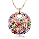 Bohemian Style Rose Gold Plated Round Pendant Necklace With Sparkling Multi Color Cubic Zirconia WOSTU