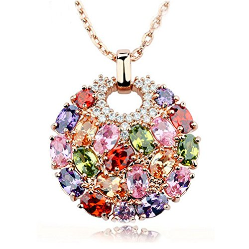 Christmas Gifts for Women Bohemian Style Rose Gold Plated Round Pendant Necklace With Sparkling Multi Color Cubic Zirconia WOSTU
