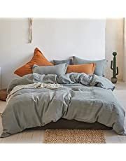Simple&Opulence 100% Stone Washed Linen Duvet Cover Sets Solid Color Basic Style