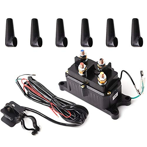 12V Solenoid Relay Contactor & Winch Rocker Thumb Switch Combo for ATV UTV Atv Winch Rocker Switch