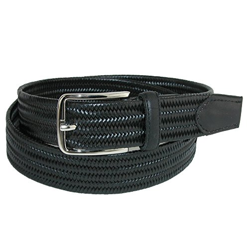 Aquarius Men's Stretch Leather Braided Belt, 44, Black ()