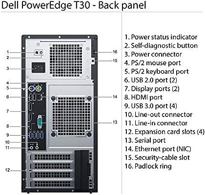 Dell PowerEdge T30 Tower Server - Intel Xeon E3-1225 v5 Quad-Core