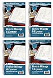 """Adams Vehicle Mileage and Expense Journal, 5-1/4"""" x 8-1/2"""", Spiral Bound, 6 Receipt Pockets, Sold as 4 Pack"""