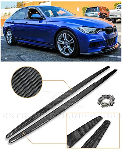 - Replacement for 2012-2018 BMW F30 F31 3-Series M-Sport Models | EOS M Performance Style Carbon Fiber Side Skirts Rocker Panels Extension