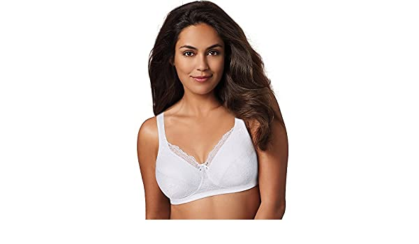 a3a75442d4 Playtex 18 Hour Perfect Lift Wirefree Bra White 44D at Amazon Women s  Clothing store