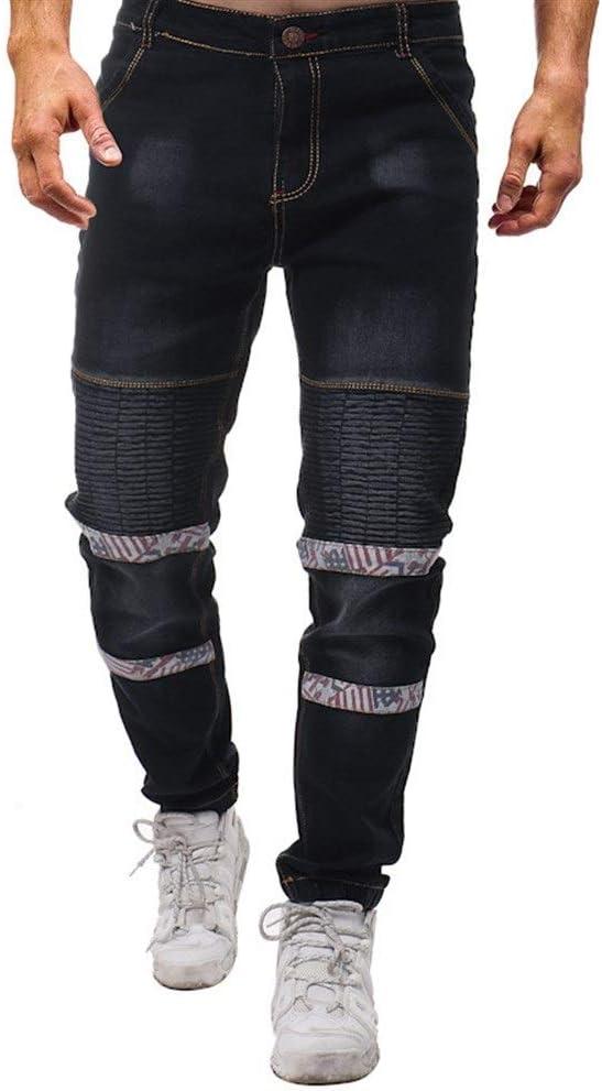 メンズジップワイドパンツ 新しいファッション花柄のステッチプリーツ行う古い弾性ウエストのジーンズスリムメンズ エフェクトライトウォッシュ (Color : Black, Size : 32)