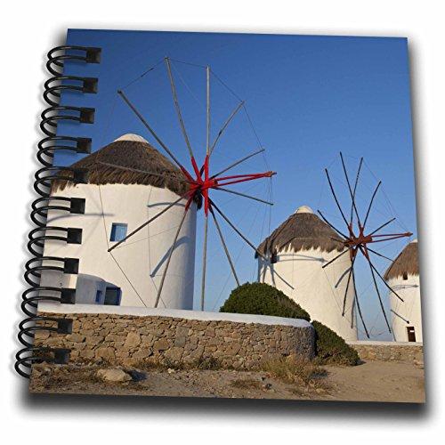 3dRose Danita Delimont - Windmills - Greece, Mykonos. Windmills along the water - Mini Notepad 4 x 4 inch (db_277436_3) (Water Mykonos)