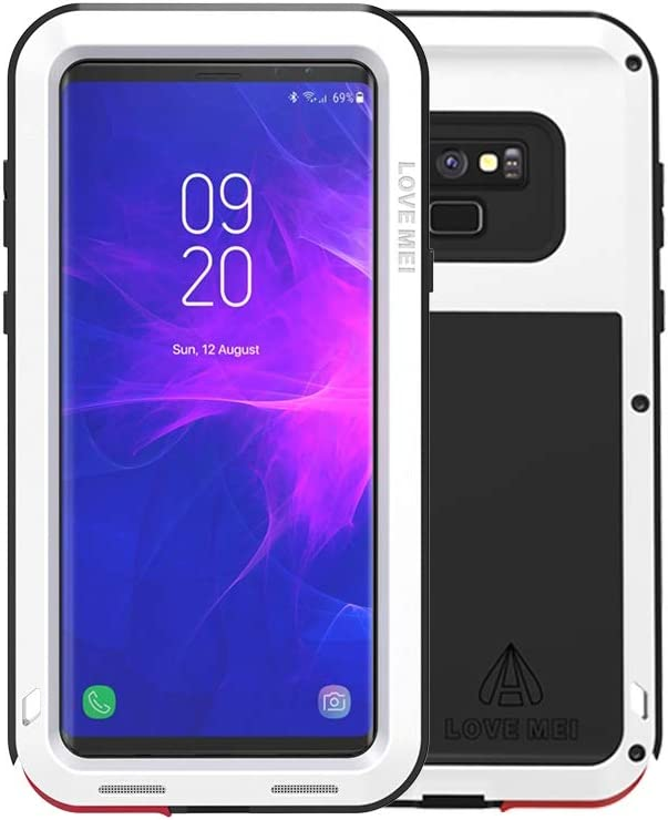 Galaxy Note 9 Case,Bpowe Super Shockproof Silicone Aluminum Metal Armor Tank Heavy Duty Sturdy Protector Cover Hard Case with Gift HD Clear Screen Protector for Samsung Galaxy Note 9 (White)