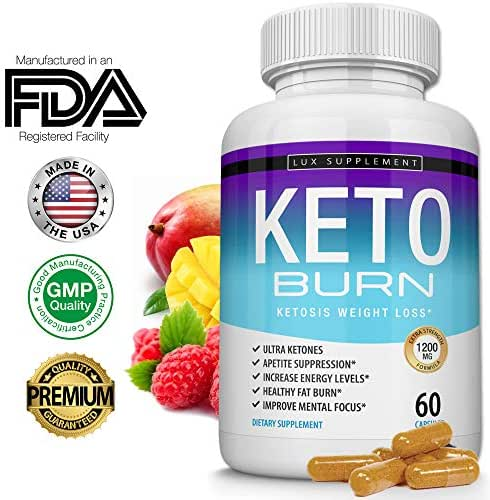 Lux Supplement Keto Burn Pills Ketosis Weight Loss– 1200 Mg Ultra Advanced Natural Ketogenic Fat Burner Using Ketone Diet, Boost Energy Focus & Metabolism Appetite Suppressant, Men Women 60 Capsules