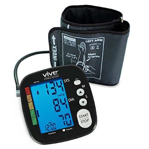 Blood Pressure Monitor by Vive Precision - Automatic Digital Upper Arm Cuff - Accurate, Portable & Perfect for Home Use - Electronic Meter Measures Pulse Rate - One Size Fits Most Cuff (Black) (Wrist Blood Pressure Cuff Black compare prices)