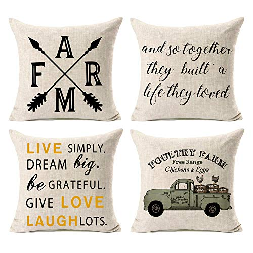 Kithomer Set of 4 Rustic Farm Fresh Eggs Pillow Covers Farmhouse Decorative Farmhouse Quote Gift Cotton Linen Throw Pillow Cases 18 x 18 Inch Country Style Home Decoration