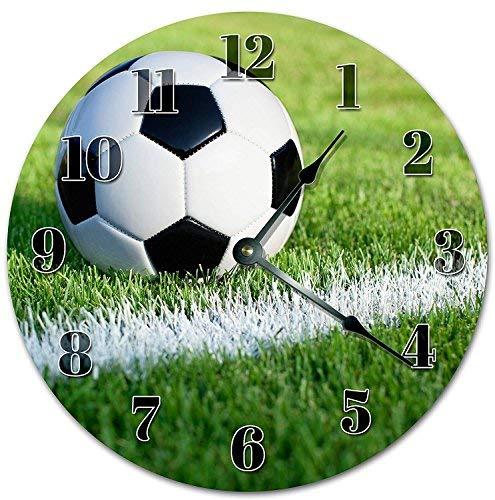 HSSS - Reloj de Pared (Madera, 30,5 cm), diseño de balón de fútbol ...