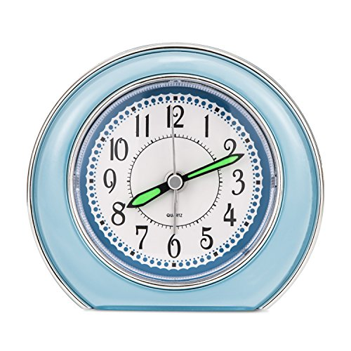 Super Silent Analog Alarm Clock,Non Ticking Analog Alarm Clock with Nightlight Function,Simple to Set Clocks,Super Silent Alarm Clock with Snooze,Battery Powered,Small(blue)