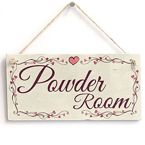Powder Room - Heart Design Handmade Shabby Chic Wooden Sign / Plaque Wooden Hanging Sign 4