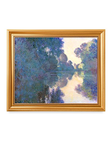 DecorArts - Morning on the Seine near Giverny Claude Monet Art Reproduction. Giclee Print& Museum Quality Framed Art for Wall (Landscape Painting Signed)