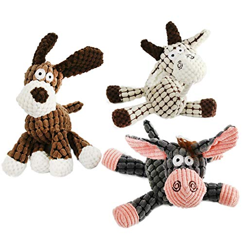 Houwsbaby 3 Pcs Dog Squeaky Pet Throw Toys Set Stuffed Animals Kit Soft Puppy Cow Donkey Grind Teeth Hemp Rope for Small, Medium,Large Chewers, Gray White Brown, 11-inch