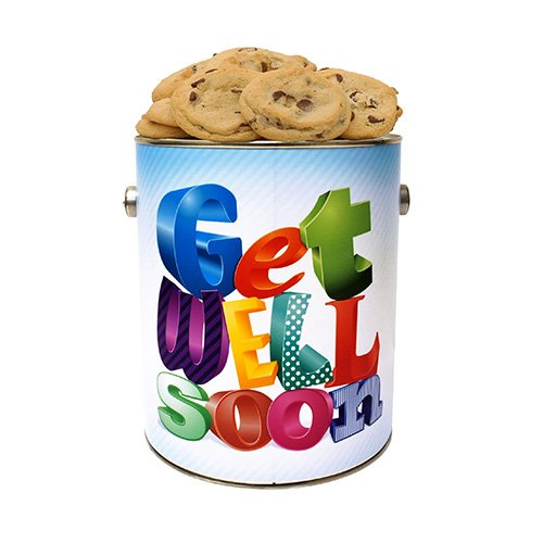 Get Well Soon Gallon Cookie Tin- Chocolate Chip Fresh Baked Cookies by Apple Cookie & Chocolate Co.