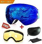 Extra Mile Ski Goggles, Anti-Fog Protection Snowboard Dual Lens for Men