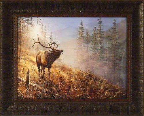 Song In The Mist by Jim Hansel 17x21 Bull Elk Framed Art Pri