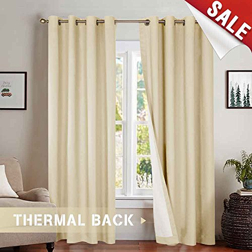 Blackout Curtains Lined Thermal 63 Inches Length Light Reducing Panels for Bedroom Light Beige Window Curtain Set Grommet Top Single Panel