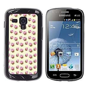 Modelo de la magdalena del mollete Rosa Amarillo lindo - Metal de aluminio y de plástico duro Caja del teléfono - Negro - Samsung Galaxy S Duos S7562