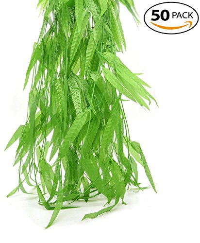 Bird Fiy 50 PCS 6 Ft Artificial Flower Wicker Rattan Vine Fake Foliage Leaf Flowers Plants Garland Garden Decoration