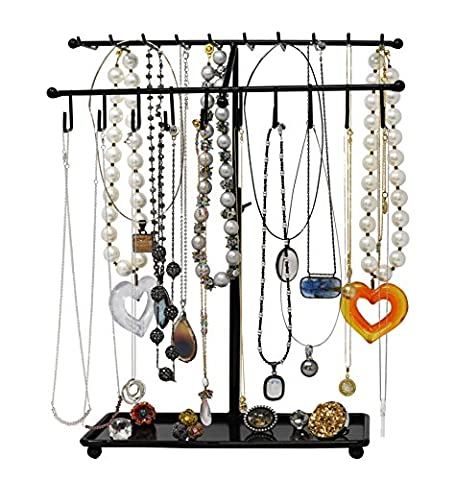 Adjustable Height Black Metal 30-Hook Necklace / Bracelet Jewelry Organizer Display Rack by Arad (Butterfly Jewelry Dish)