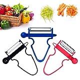 Magic Trio Peeler Stainless Steel Multi-purpose Vegetable Peeler & Julienne Cutter Fruits Salad Shredder Tool (Multi)