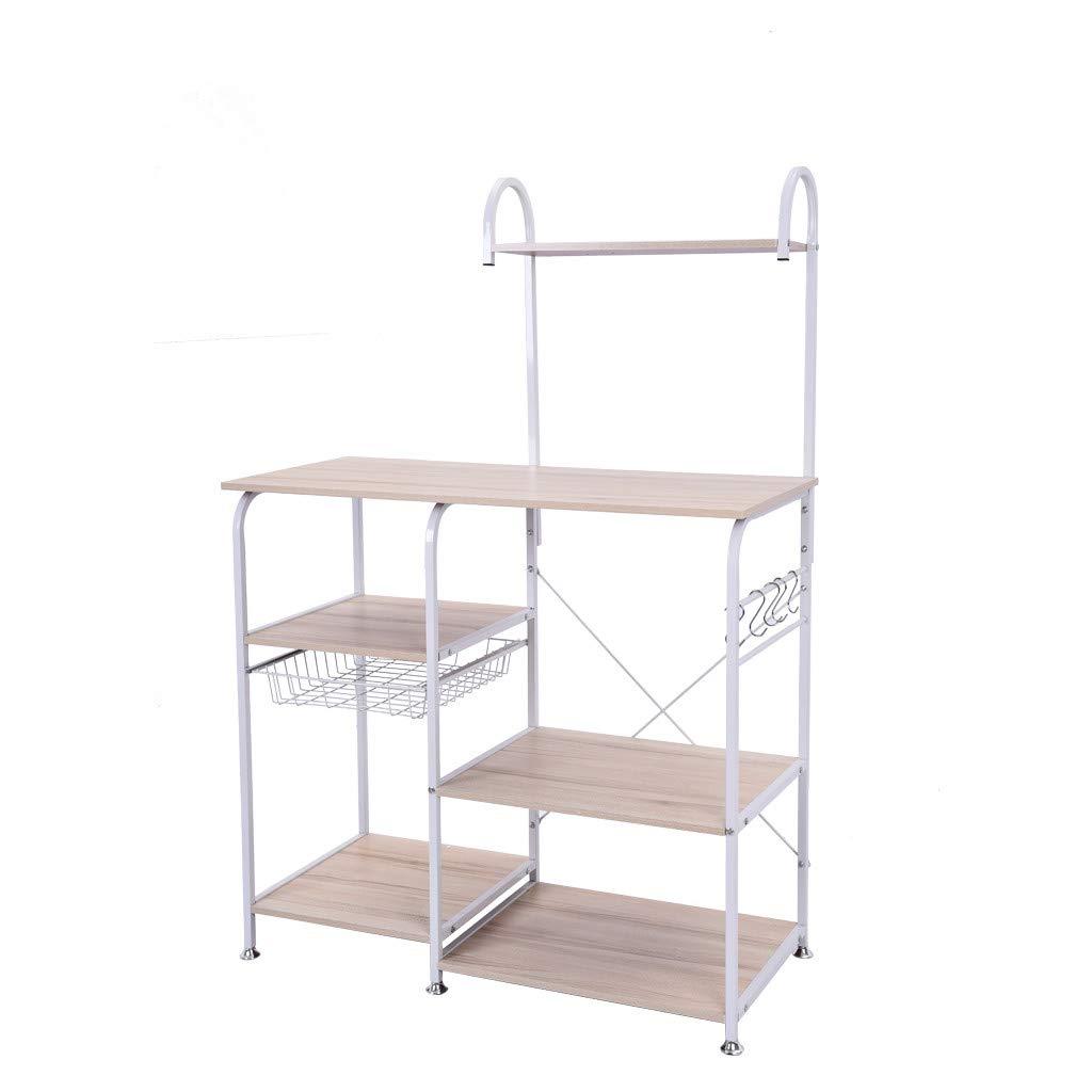 Basde Kitchen Rack, Kitchen Baker's Rack Utility Storage Shelf 35.5'' Microwave Stand 4-Tier+3-Tier Shelf for Spice Rack Organizer Workstation (White)