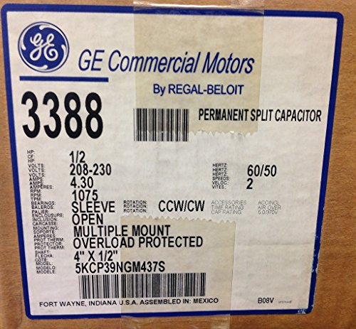 General Electric (GE) 2 Speed Indoor Fan Motor CW/CCW 1/2HP 208-230V 1075RPM