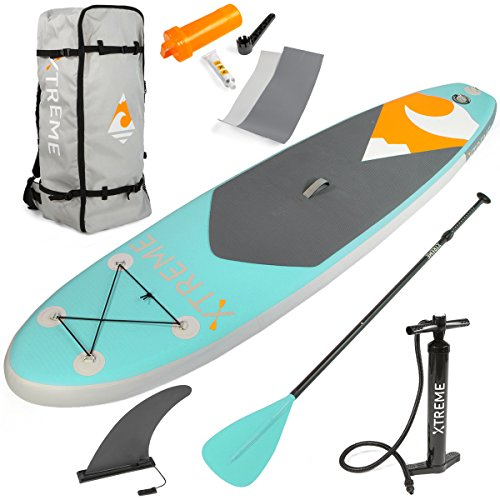 XtremepowerUS Premium Inflatable Paddle Board Set Adjustable Paddle Non-Slip Backpack Pump Bundle Accessory Pack (Mint)]()