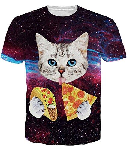 (Idgreatim Men Casual 3D Graphic Short Sleeve Cat Shirts Print Tees L)