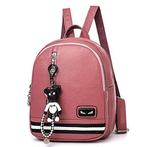 (JVP1074-P) Señoras mochila de cuero PU anillo a prueba de agua para niñas de gran capacidad de viaje bolso moda simple lindo suburbano escuela Rosa