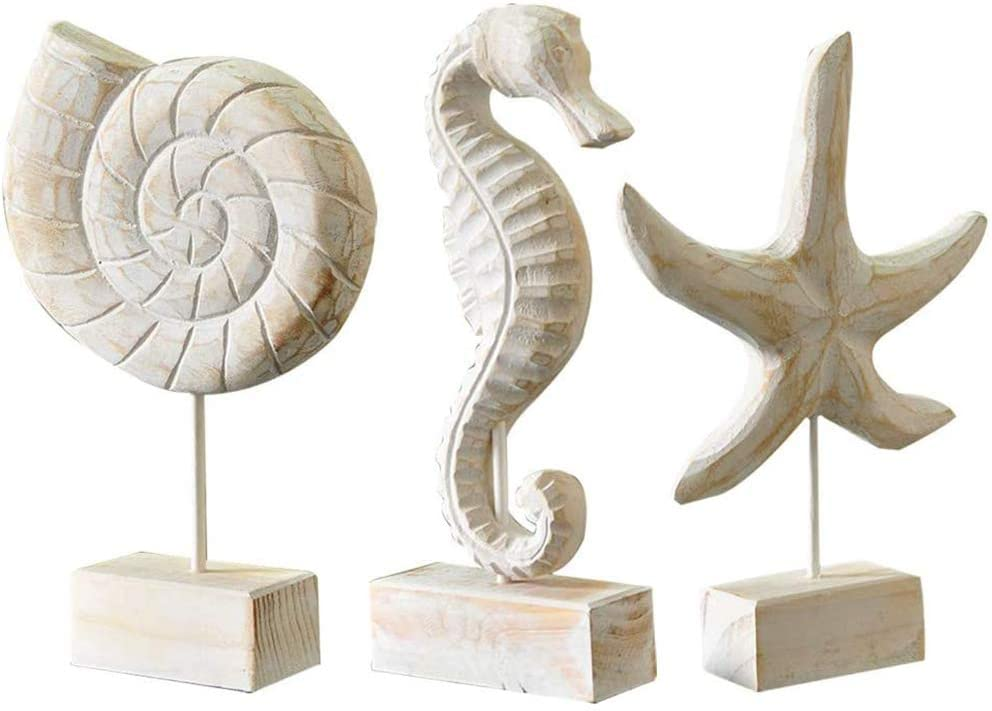 Creproly 3Pcs Modern Wood Sculpture Home Decor Statue Starfish Conch Seahorse Figurines Beach Nautical Style Table Sculptures Home Decor