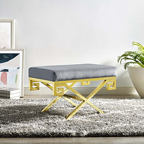 Gold Polished Greek Key - Modway Rove Greek Key X-Base Entryway Modern Bench With Velvet Upholstery in Gold Gray