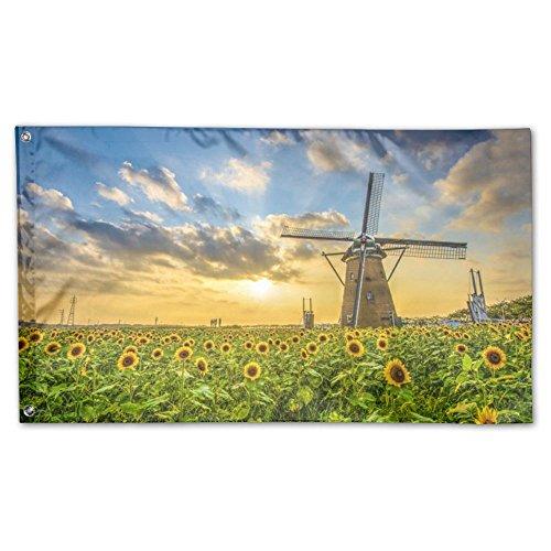 IMLJD Windmill Sunflowers 3'x 5' Outdoor/Indoor Decorative P