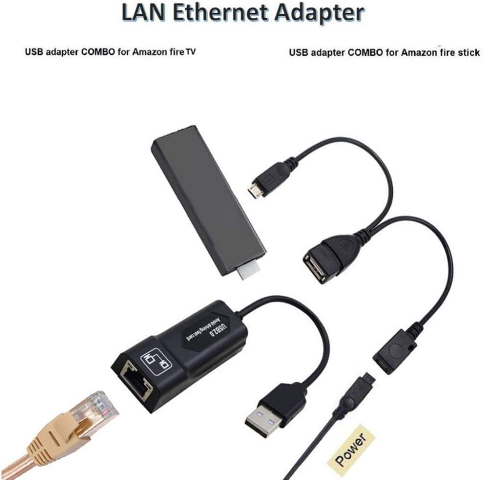 Networking Converter with USB 2.0 /& Micro USB Ports for  Fire TV 3 perfk RJ45 8P8C Ethernet Adapter