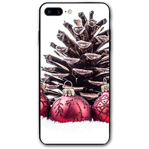 Clear Christmas Red Ornament Ball Pine Cone iPhone 8 Plus Case, iPhone 7 Plus Case, Ultra Thin Lightweight Cover Shell, Anti Scratch Durable, Shock Absorb Bumper Environmental Protection Case Cover
