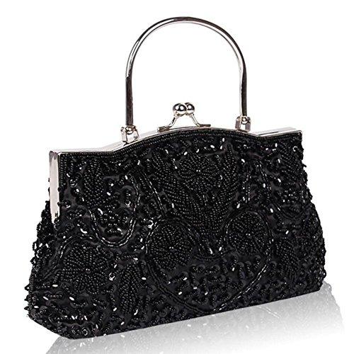de bolso black noche con de metal 22cm para mujer de lentejuelas besos de de marco diseño de embrague 24 x satén bolsas size one pink cuentas 44xIP