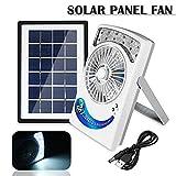 Farway 3 In 1 Multi-functional Cooling Solar Fan 3W Solar Panel USB 12LED 110V/5V Rechargeable Fan