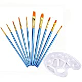 Mudder 10 Pieces Blue Artist Paint Brushes Set Art Painting Supplies with Paint Tray Palette