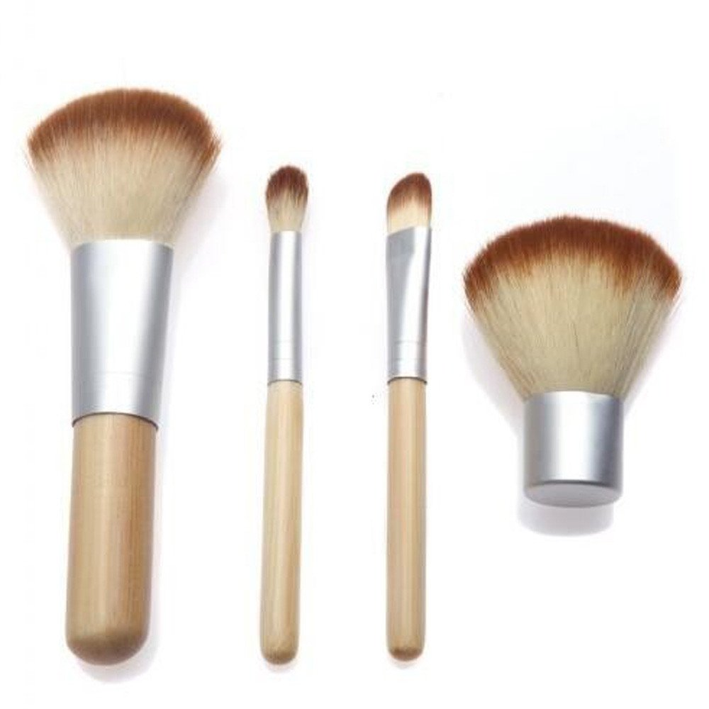 Fan-Ling 4Pcs Bamboo Makeup Brush Set Professional Face Eye Shadow Eyeliner Foundation Blush Lip Makeup Brushes Powder Liquid Cream Cosmetics Blending Brush Tool,Lightweight and portable